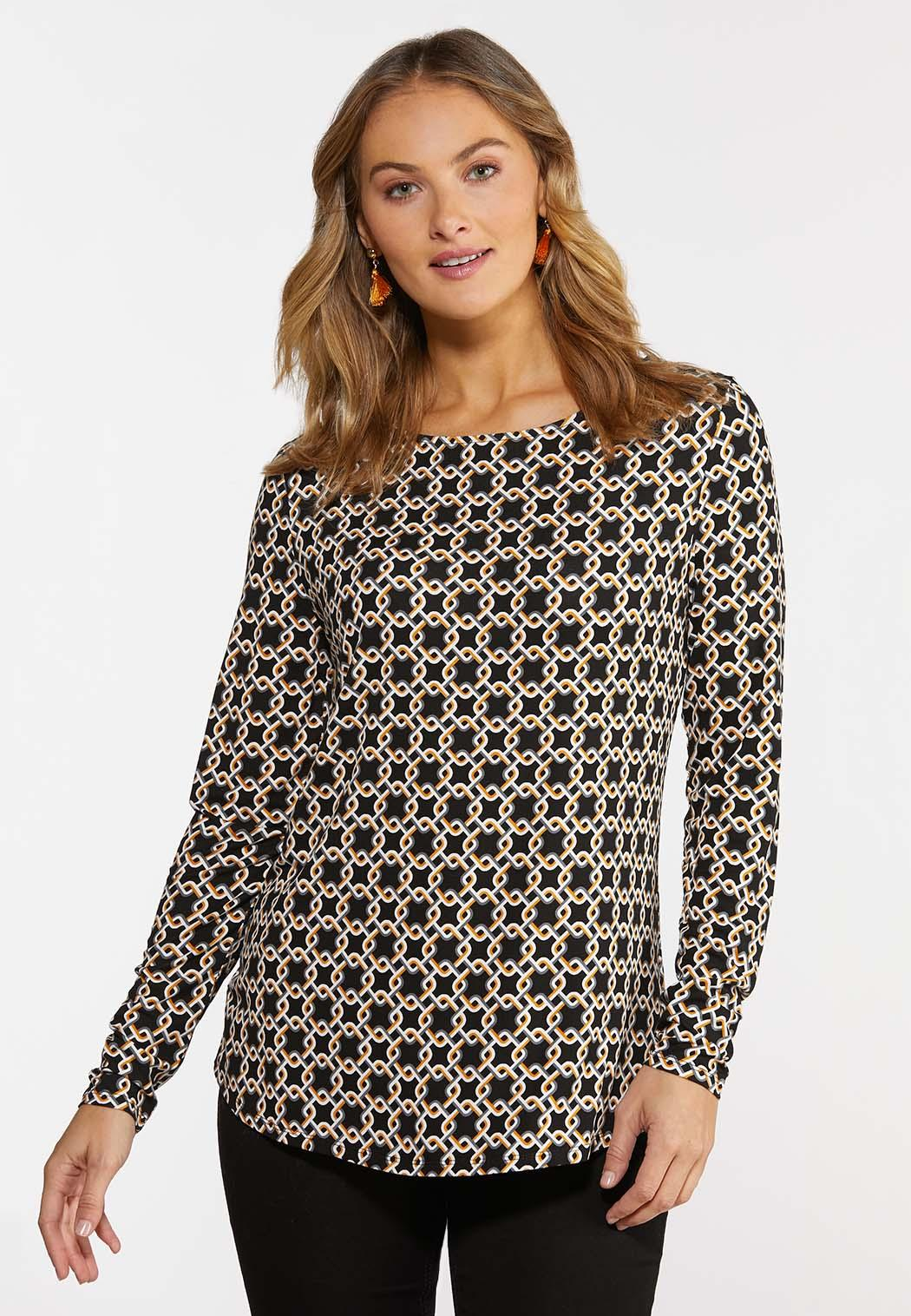 Plus Size Stretchy Geo Link Top