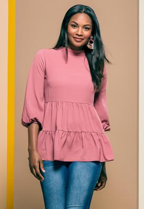 Plus Size Rose High- Low Tunic