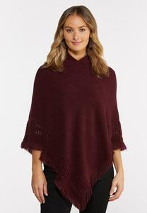 Wine Fringed Poncho