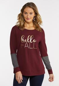 Plus Size Hello Fall Waffle Sleeve Top