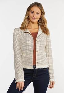 Plus  Size Tweed Fringe Jacket