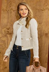 Plus  Size Tweed Fringe Jacket