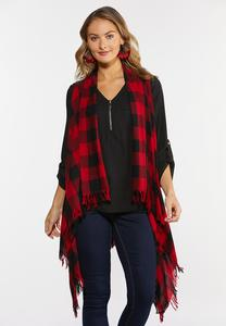Plus Size Buffalo Plaid Fringe Vest