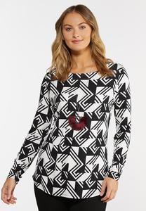 Stretchy Geo Print Top
