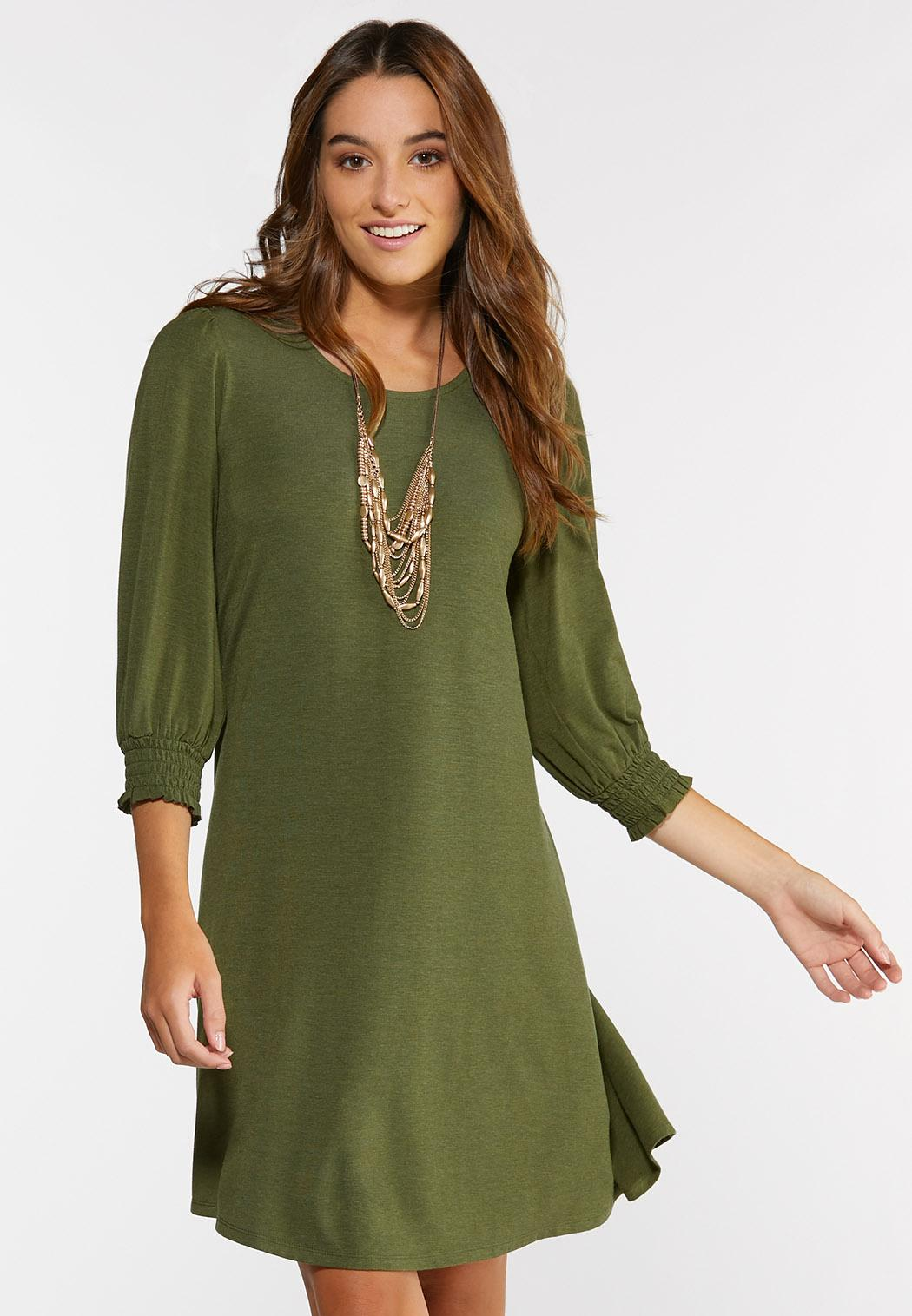 Plus Size Smocked Puff Sleeve Dress