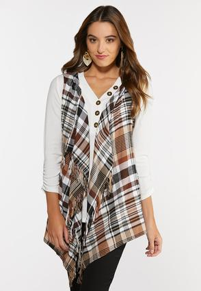 Hazelnut Plaid Hooded Vest