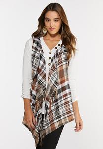 Plus Size Hazelnut Plaid Hooded Vest