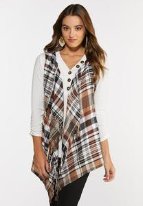 Plus Size Hazelnut Plaid Hooded Vest