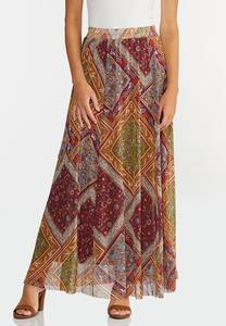 Plus Size Mesh Patchwork Maxi Skirt