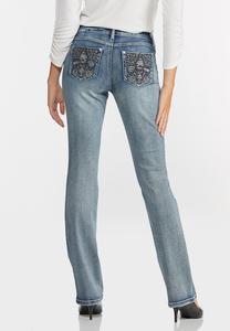 Embellished Fleur De Lis Jeans