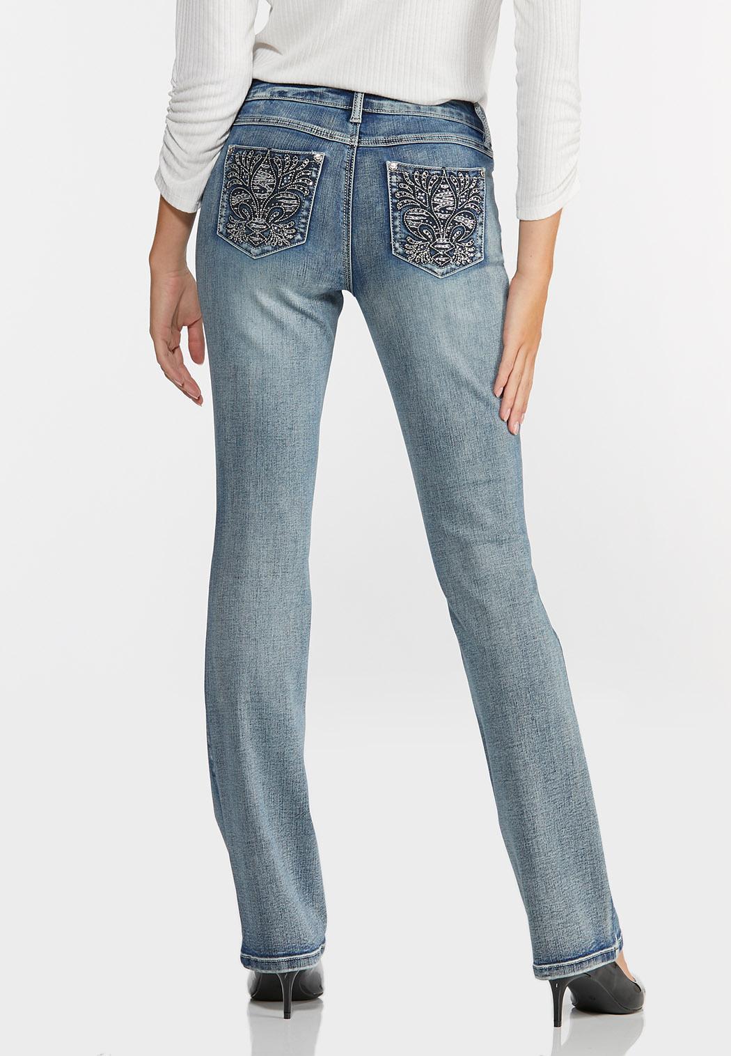 Petite Embellished Fleur De Lis Jeans