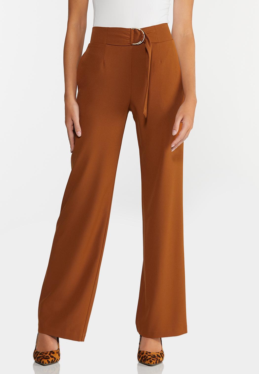 Caramel Wide Leg Trouser Pants