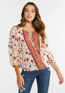 Floral Faux Wrap Top