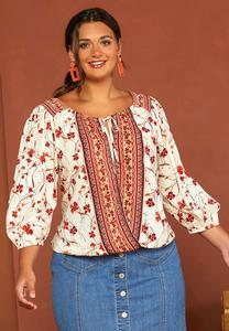 Plus Size Floral Faux Wrap Top