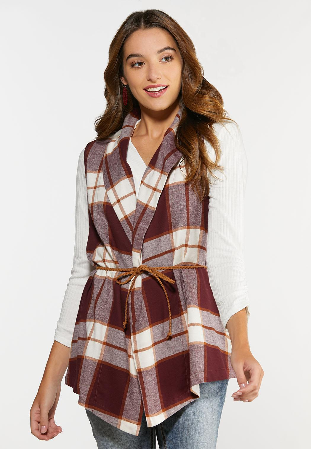 Belted Wine Plaid Vest