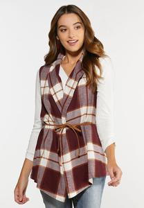 Plus Size Belted Wine Plaid Vest