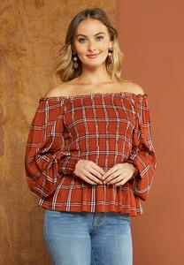 Plus Size Smocked Plaid Peplum Top