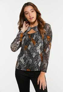 Plus Size Snakeskin Cutout Top