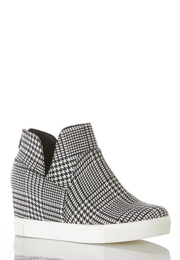 Houndstooth High-Top Wedge Sneakers
