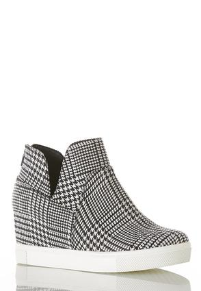 Houndstooth High- Top Wedge Sneakers