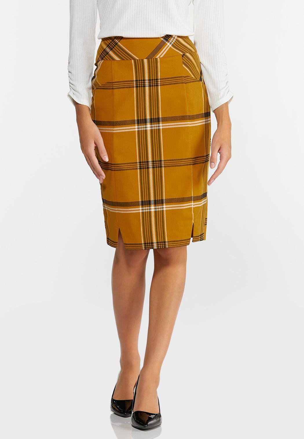 Gold Plaid Pencil Skirt