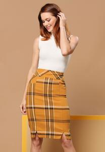 Gold Plaid Pencil Skirt