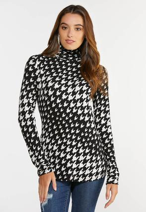 Plus Size Houndstooth Scrunch Turtleneck