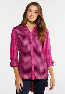 Plus Size Pink Plaid High-Low Shirt