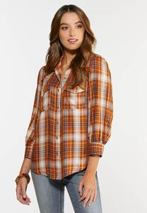 Plus Size Caramel Cream Plaid Shirt