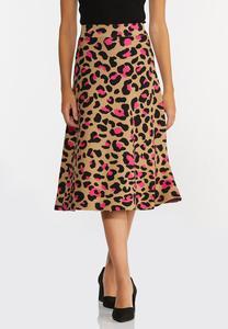 Pink Leopard Sweater Skirt
