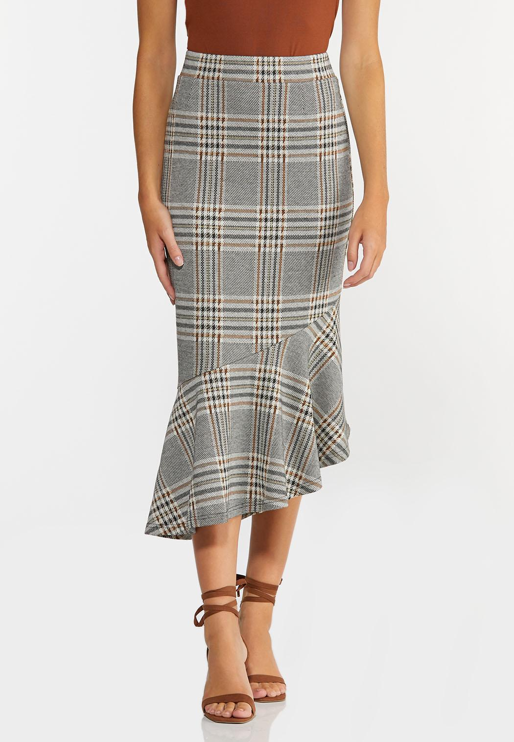 Plaid Flounced Midi Skirt