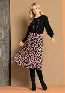 Plus Size Pink Leopard Sweater Skirt