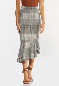 Plus Size Plaid Flounced Midi Skirt