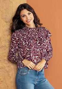 Smocked Paisley Mock Neck Top