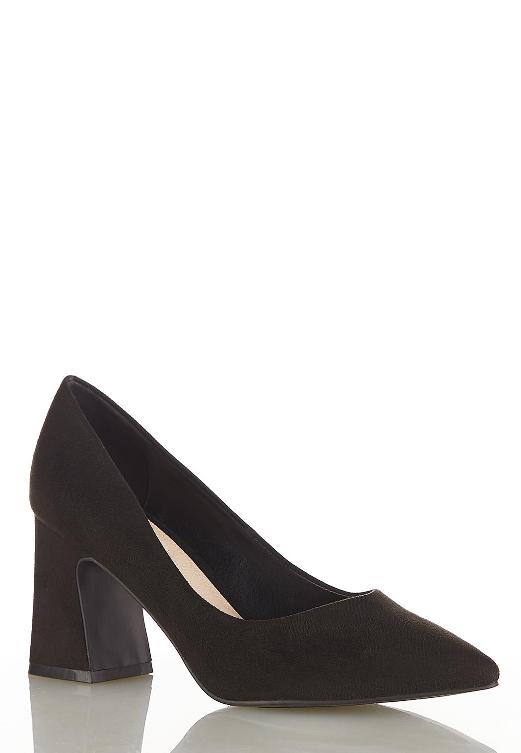 Faux Suede Flare Heeled Pumps
