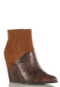 Mixed Faux Animal Wedge Booties