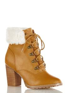 Wide Width Sherpa Cuff Ankle Boots