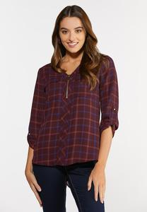 Plus Size Plaid Zip Front Top