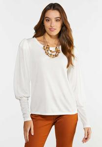 Solid Puff Sleeve Top