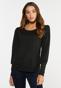 Plus Size Solid Puff Sleeve Top