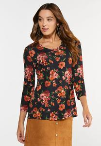 Plus Size Fall Floral Top
