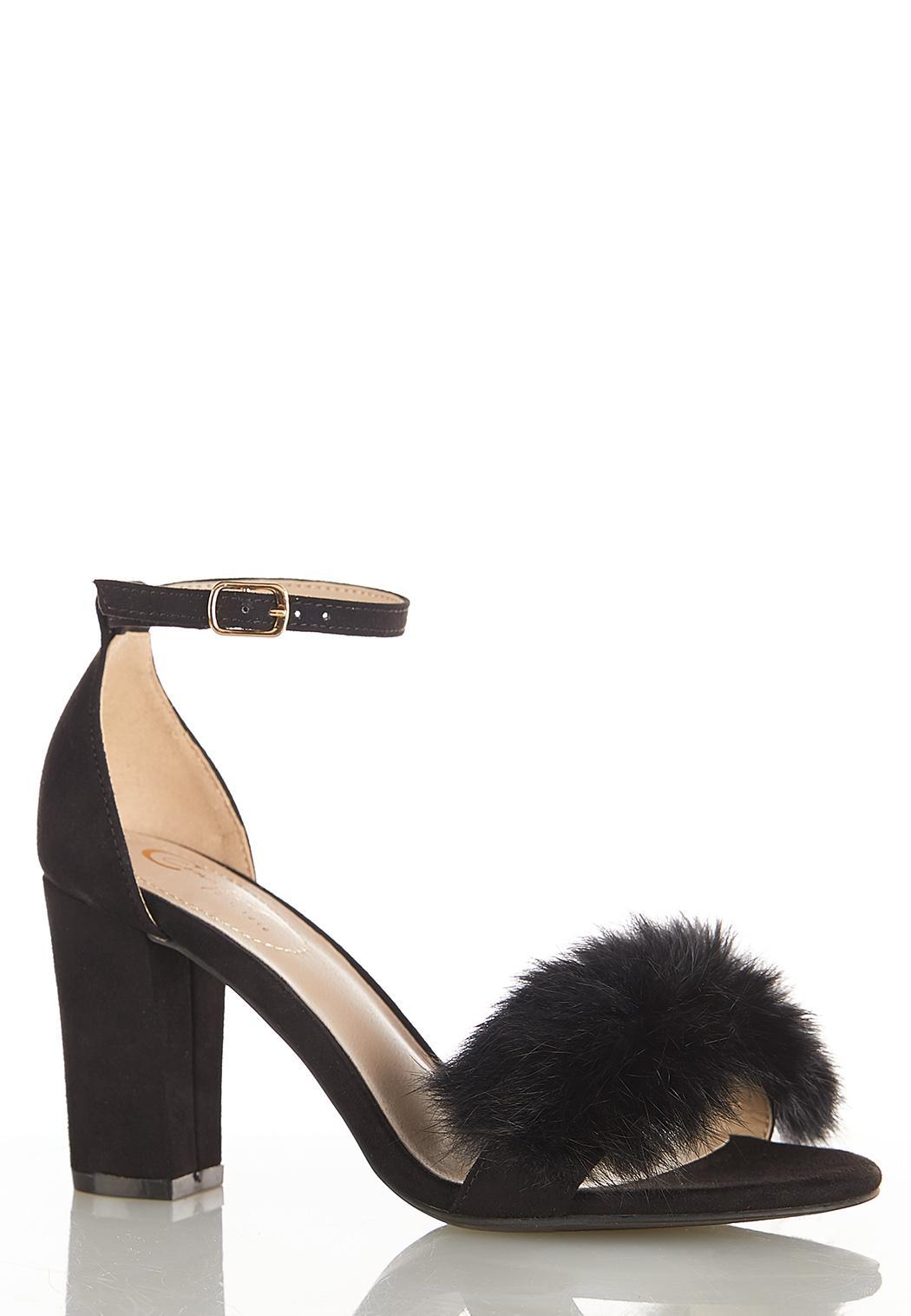 Fur Pom Heeled Sandals Heels Cato Fashions