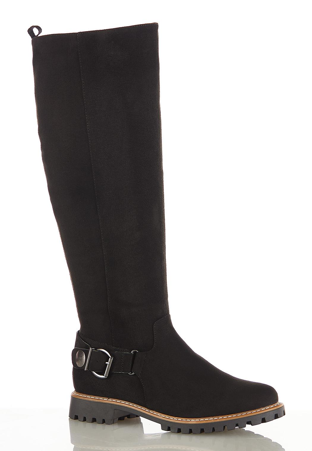 Wide Width Buckle Lug Riding Boots