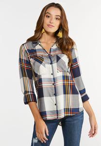 Plus Size Plaid Button Down Shirt