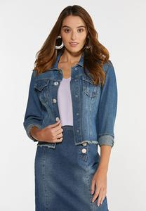 Plus Size Boucle Button Denim Jacket