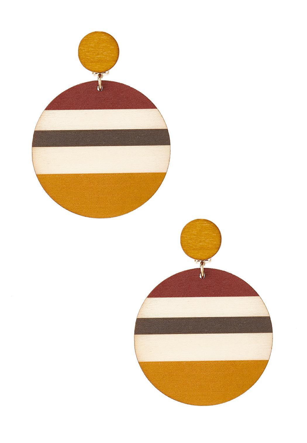 Striped Wood Clip-On Earrings