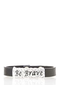 Be Brave Faux Leather Bracelet