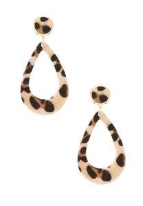 Textured Leopard Clip-On Earrings