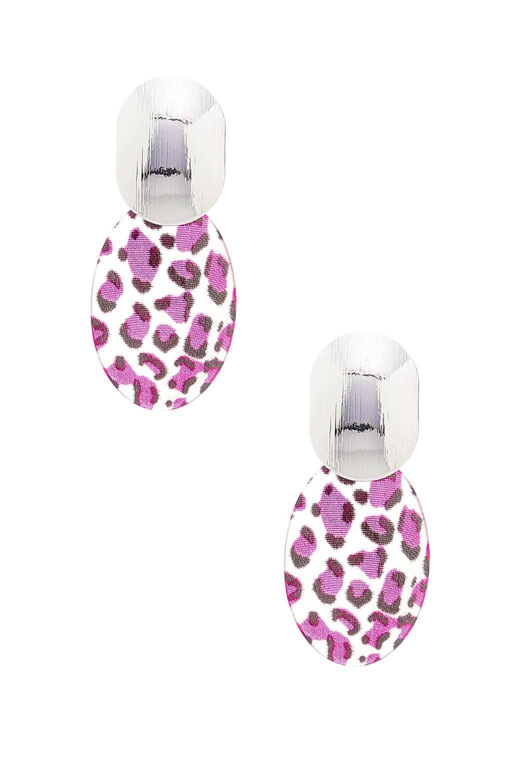 Purple Leopard Disc Earrings