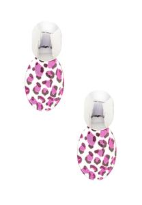 Purple Leopard Disc Earrings